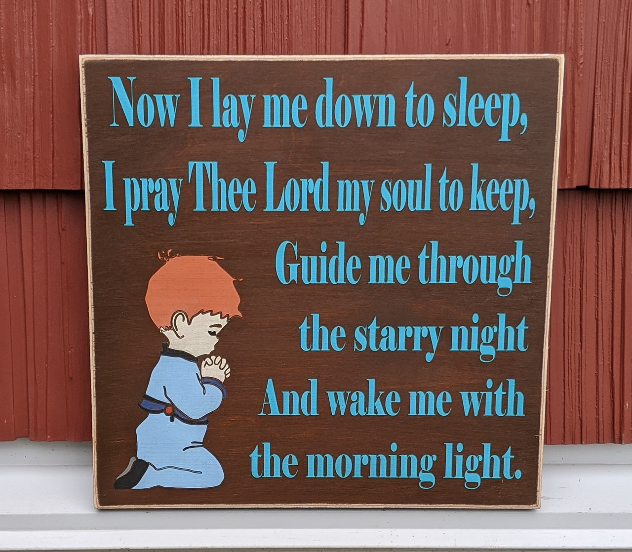 Now I lay myself down to sleep I pray the Lord my soul to keep sign