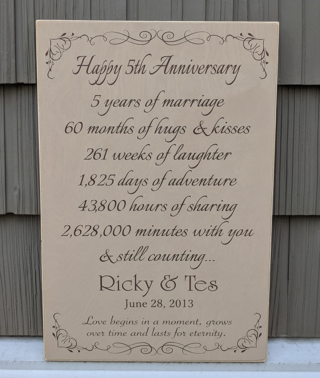5th Year Anniversary Sign - Gift
