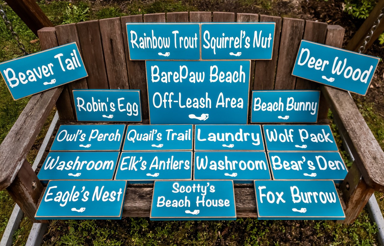 Barefoot Beach resort signs