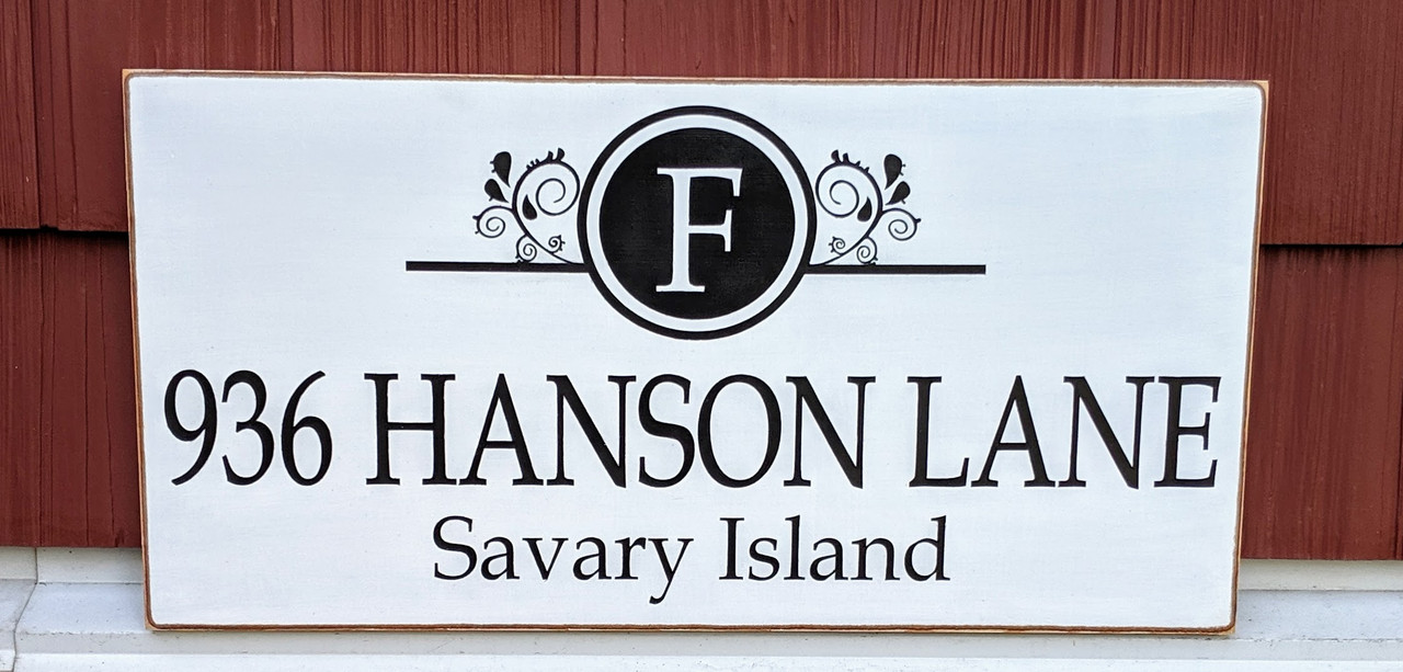 House Address Sign with Family Monogram