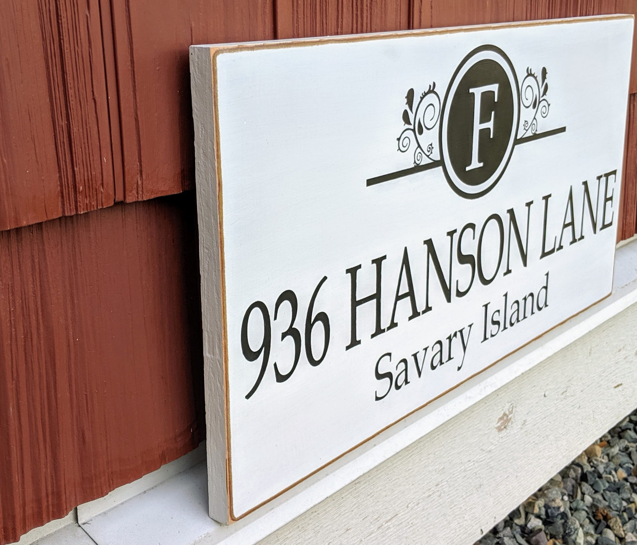House Address Sign with Family Monogram - side view