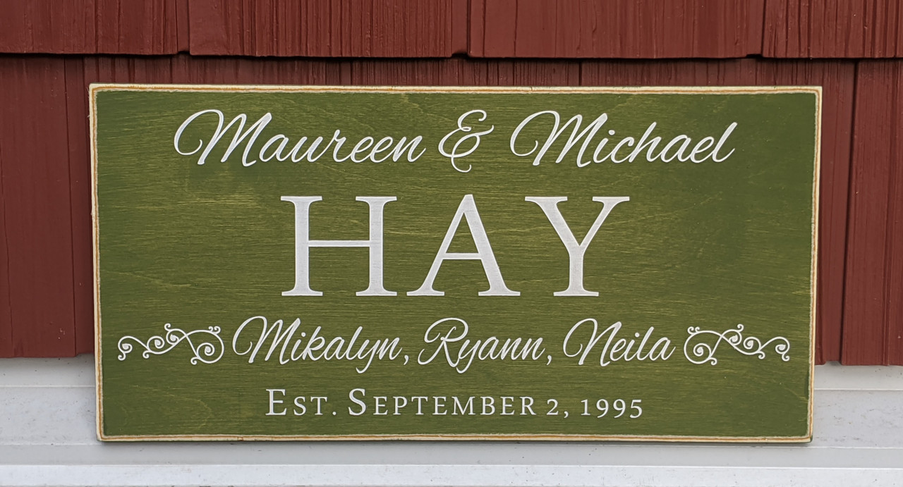 Family Name Sign with Established Date and First Names