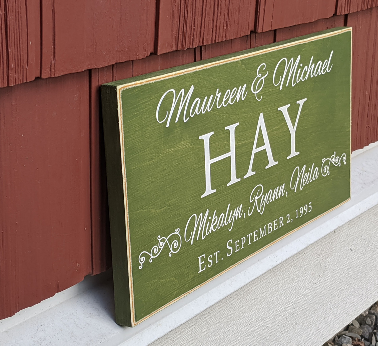 Farm House Family Name Sign with Established Date - Angle View