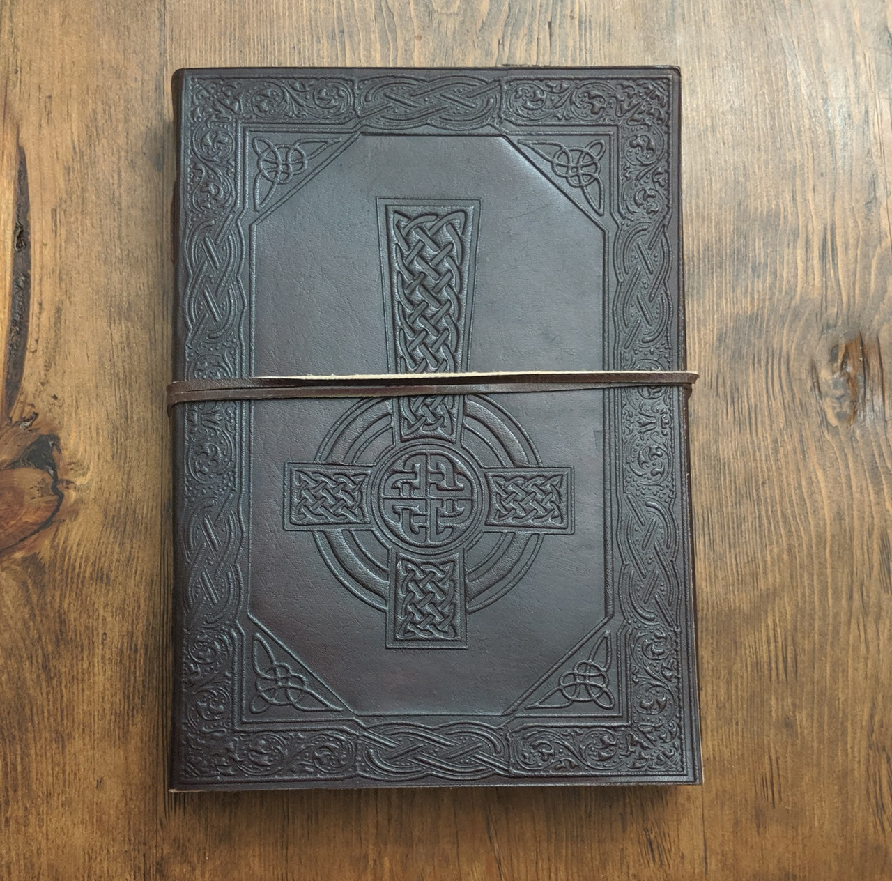 upside down celtic cross leather journal - OOPS!