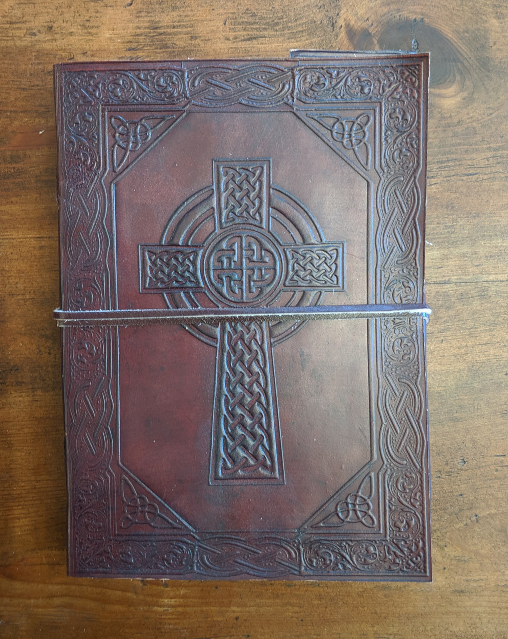 Old world leather journal with celtic cross