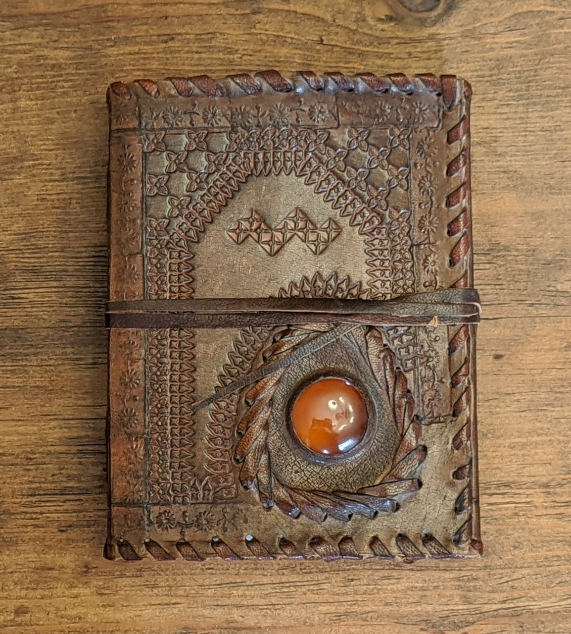 LEATHER JOURNAL - Old World Style with embossing, semi precious stone and stitching