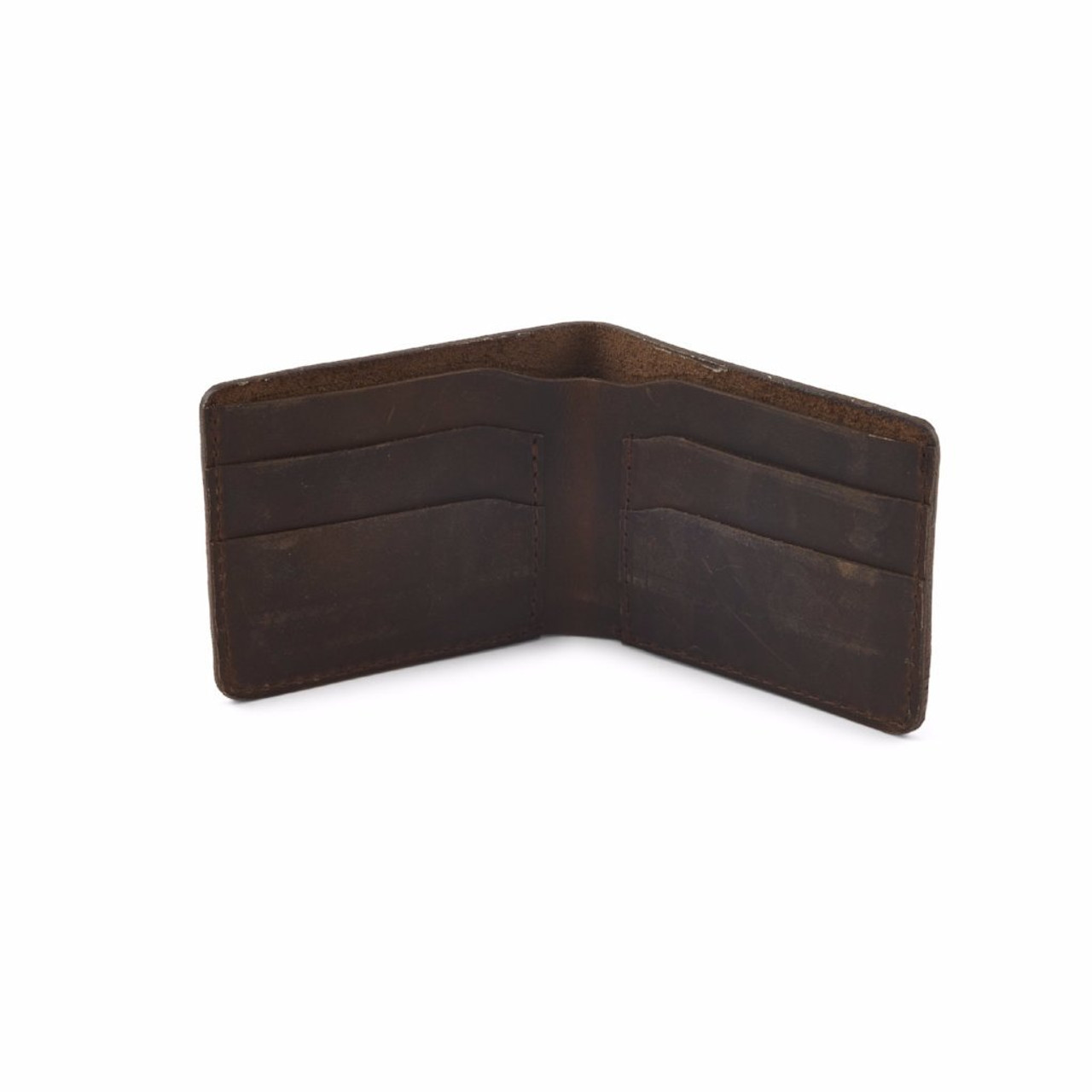 Knox Bifold Leather Wallet - Inside - Dark Brown - by Rustico