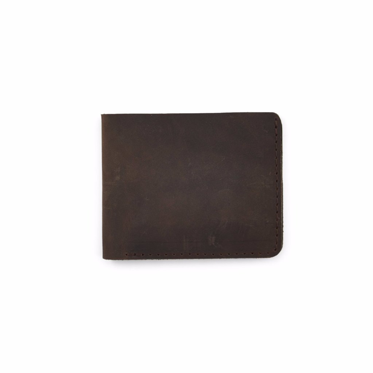 Knox Bifold Leather Wallet -Back - Dark Brown - by Rustico