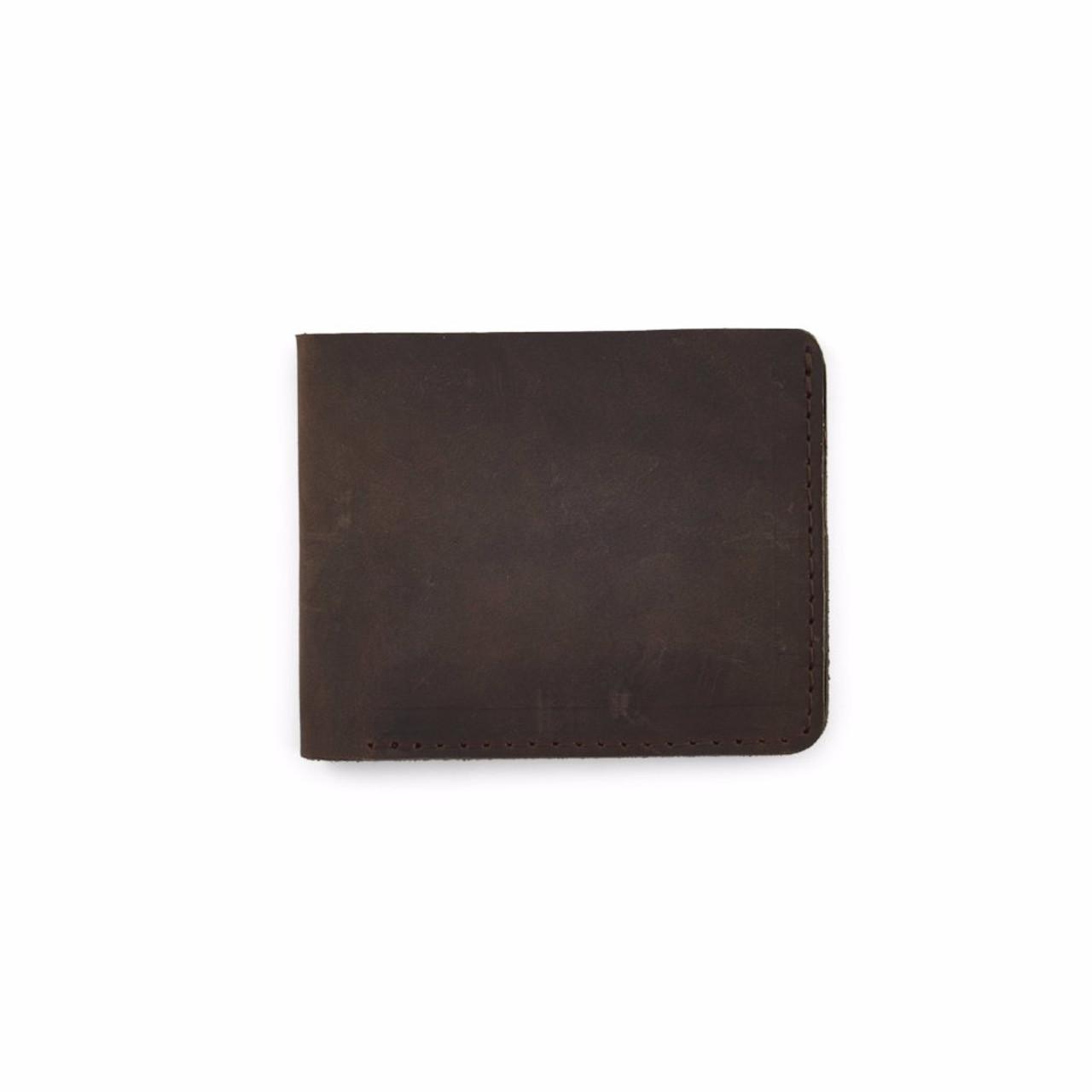 Rustico Minimalist Bifold Leather Wallet - Dark Brown - Front