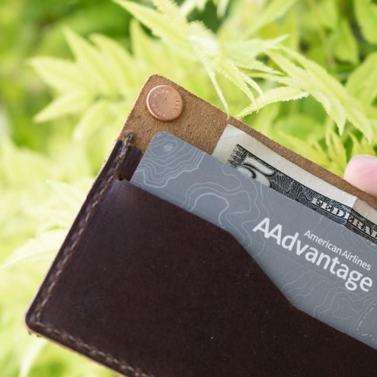 Lifestyle view of Rustico Minimalist Bifold Leather Wallet