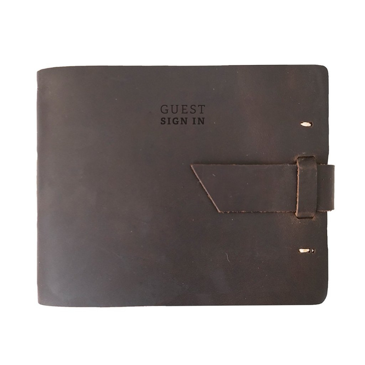 Rustico Leather Guest Book - Dark Brown