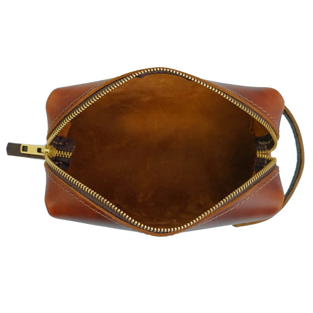 Large Leather Pouch - Saddle - High Line by Rustico - inside view