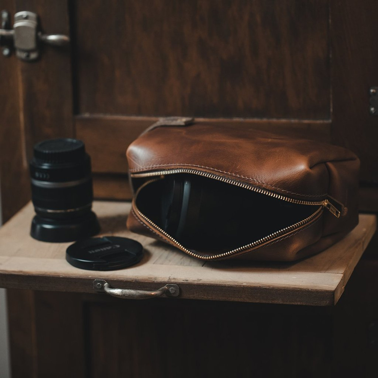 Large Leather Pouch - Saddle - High Line by Rustico - lifestyle view