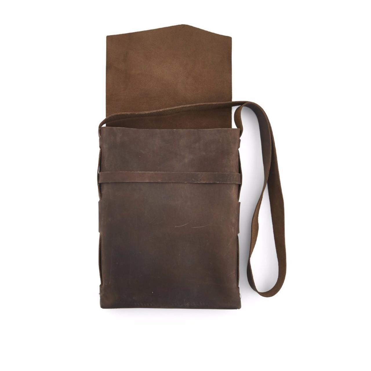 Leather Satchel - Explorer by Rustico - Dark Brown - Open