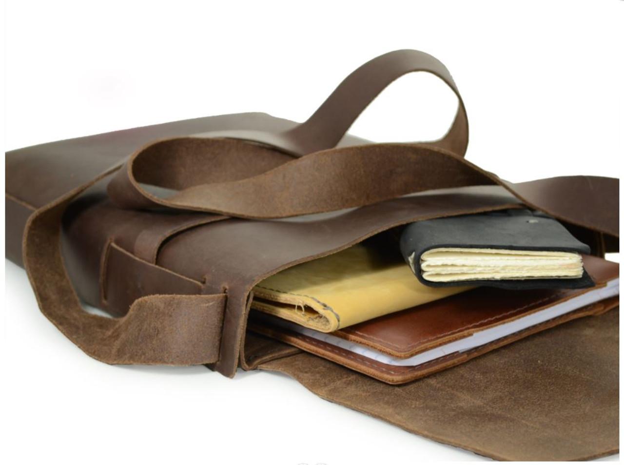 Leather Satchel - Explorer by Rustico - Dark Brown - Inside