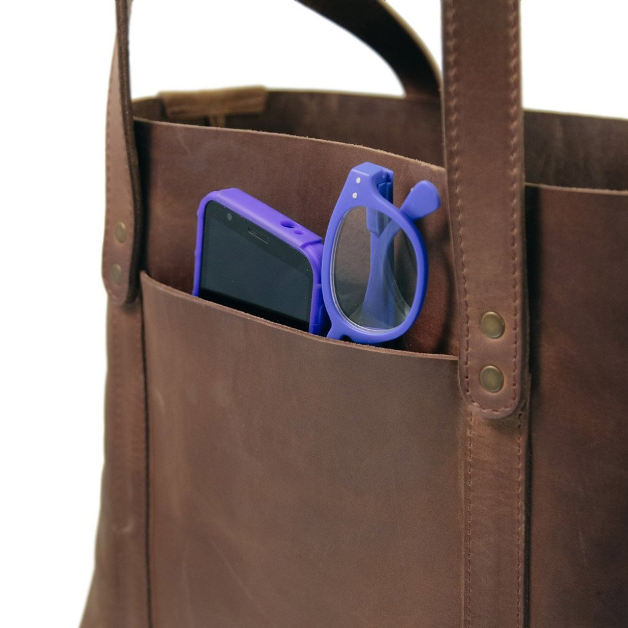 Leather Tote - Hideout by Rustico - Dark Brown - Exterior Pocket