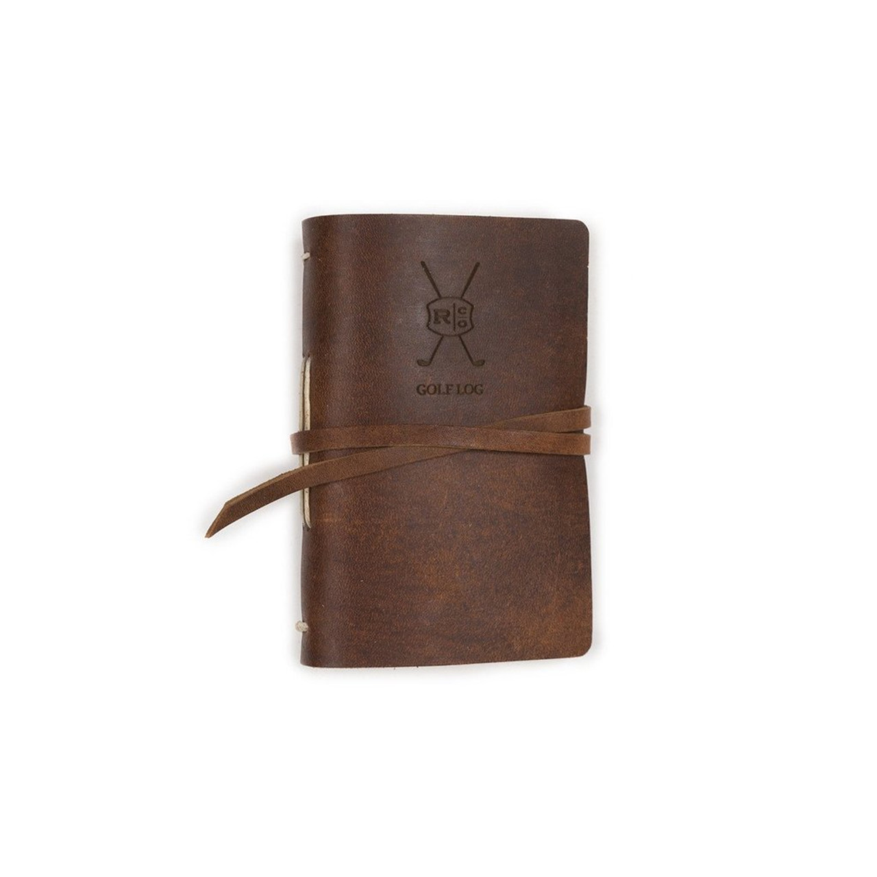 Leather Golf Log with Printed Paper - Saddle