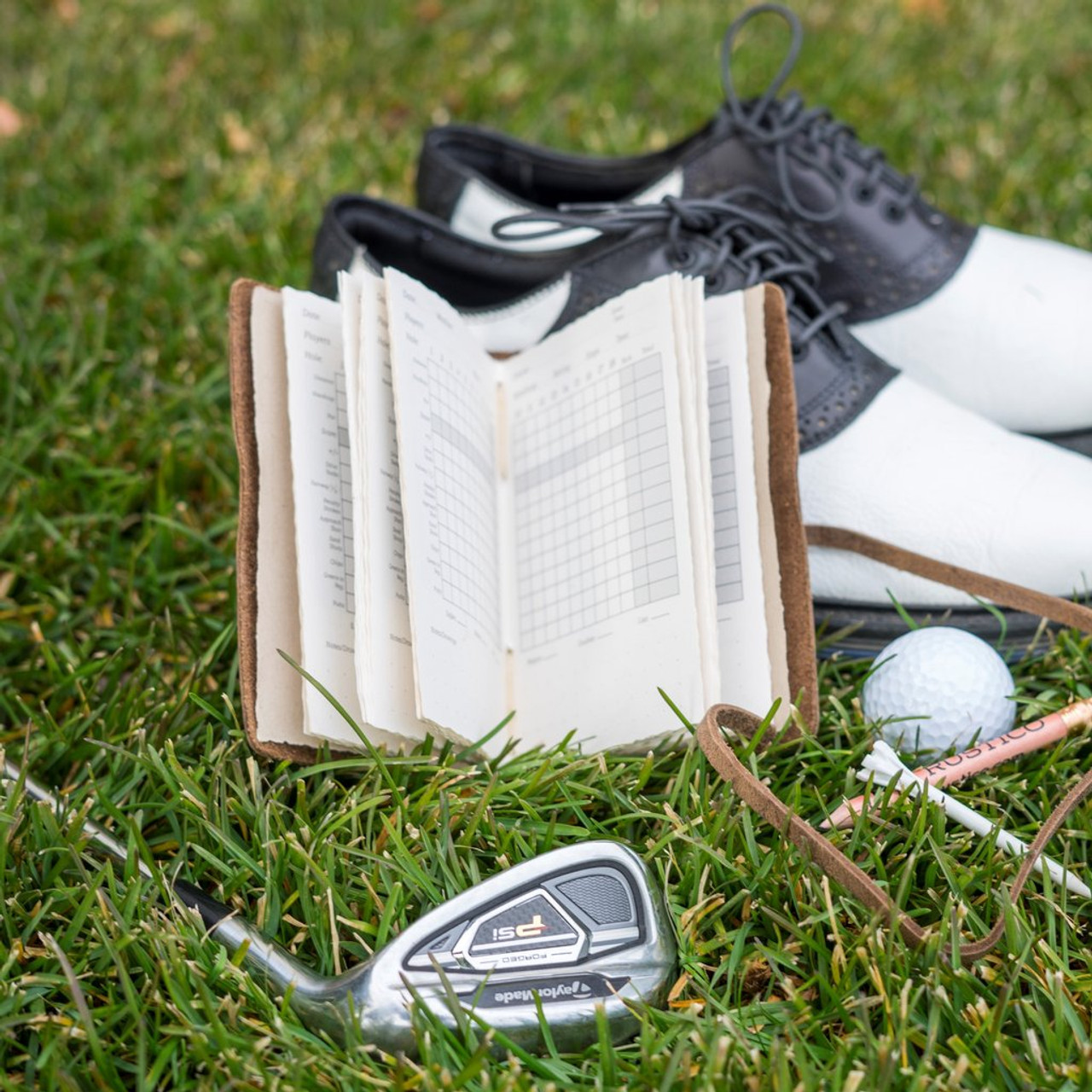 Golf Log with Printed Paper  - Leather Saddle