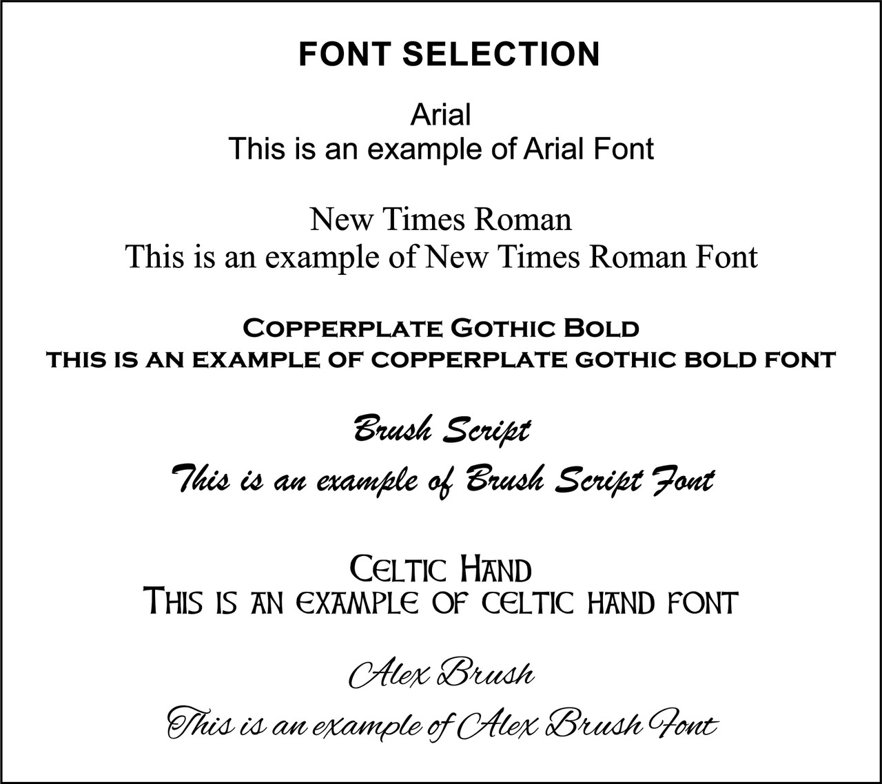 Engraving Font Options