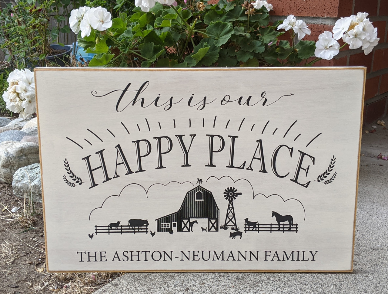 This is our happy place personalized family sign