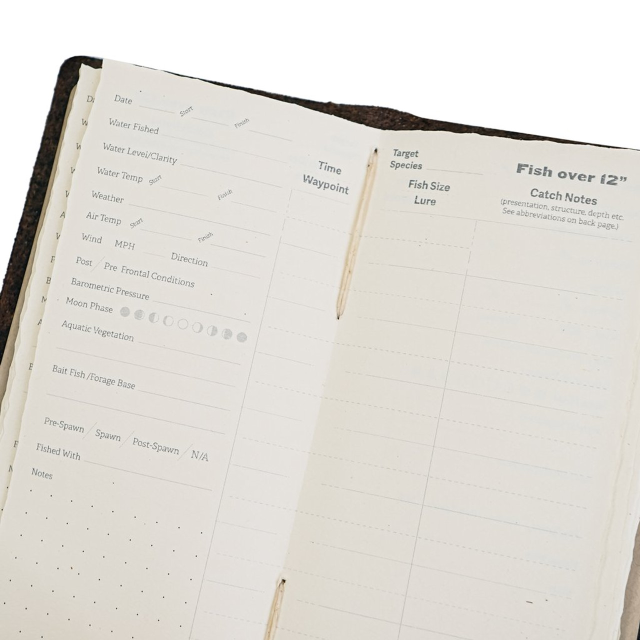 Rustico Fishing Log Book - pages