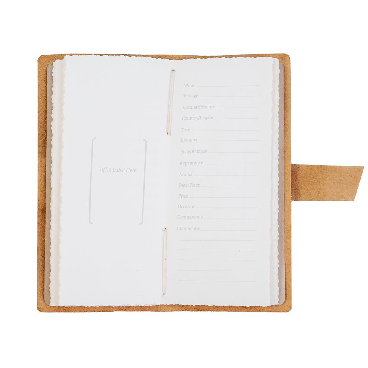 Rustico Leather Wine Log Book - Inside Pages
