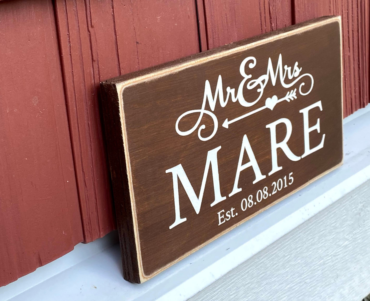 Mr and Mrs name sign with established date - side view