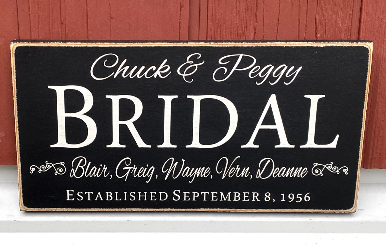 Family Name Sign With First Names & Established Date
