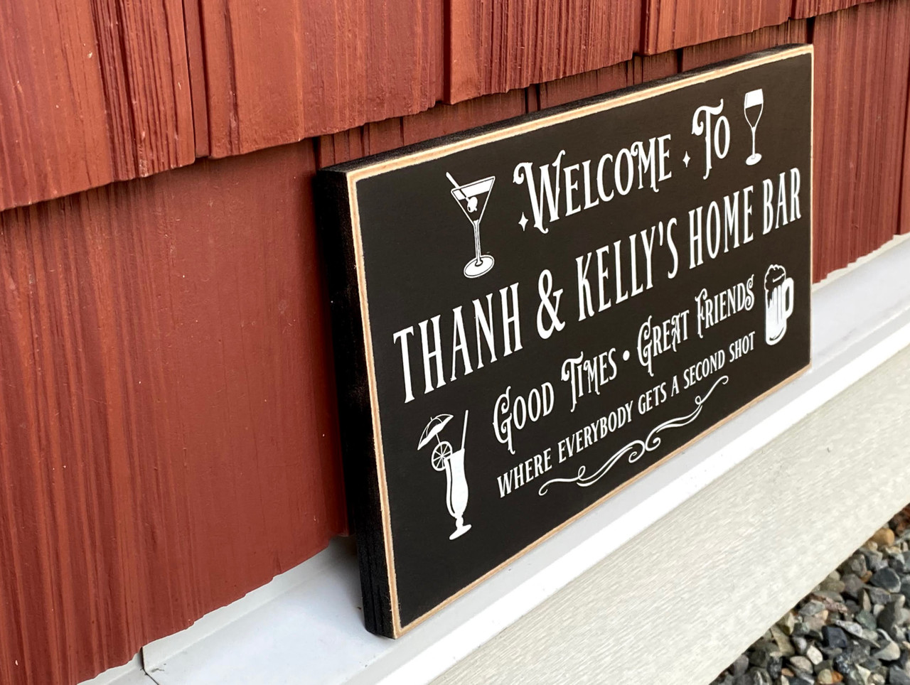Custom wood personalized home bar sign