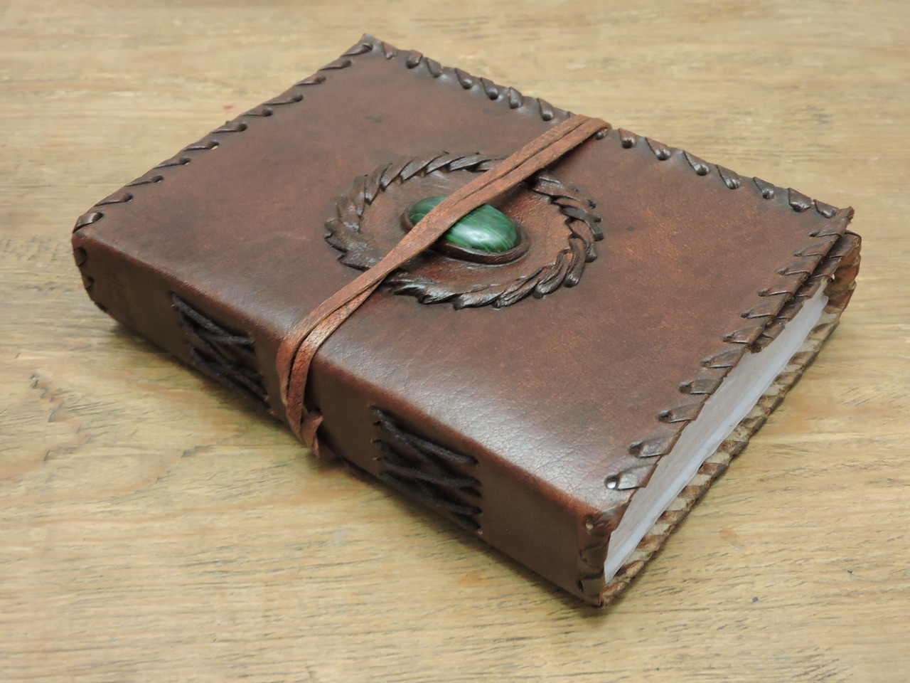 stitch with stone hand made small leather journal - side view