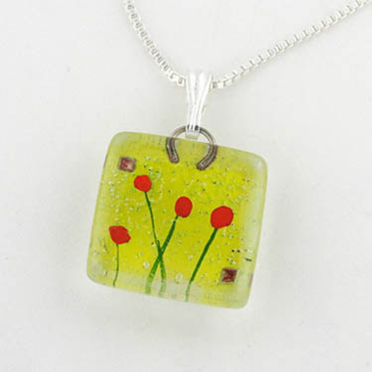 Glass Pendant Charm - Admist Poppies
