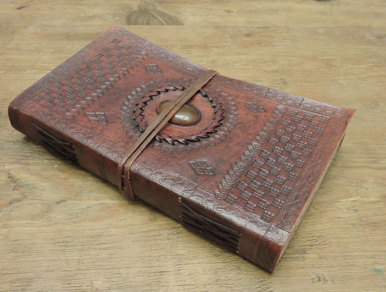 9 x 5 leather journal - old world style - side view
