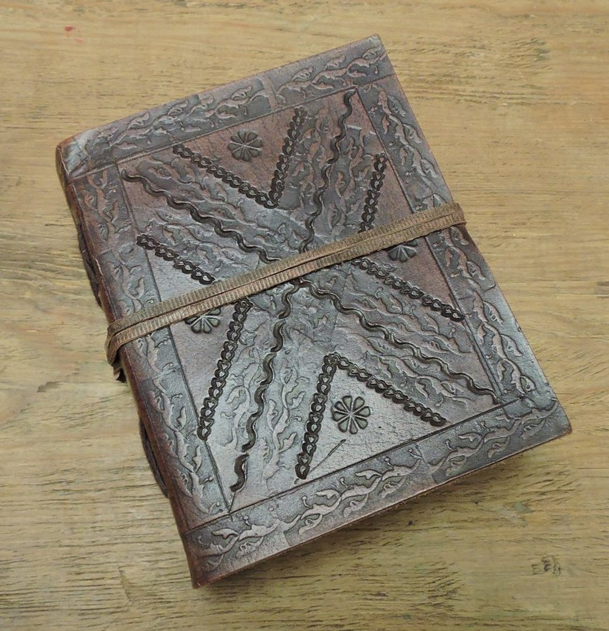 small old world style leather journal with lined paper