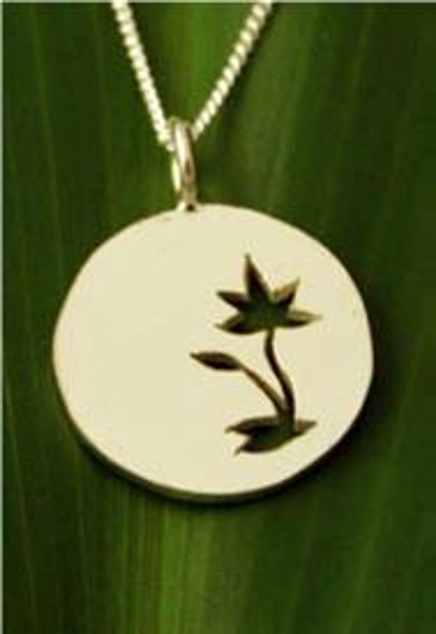 Filou Designs Sterling Silver Waterlily Medallion Cutout Necklace