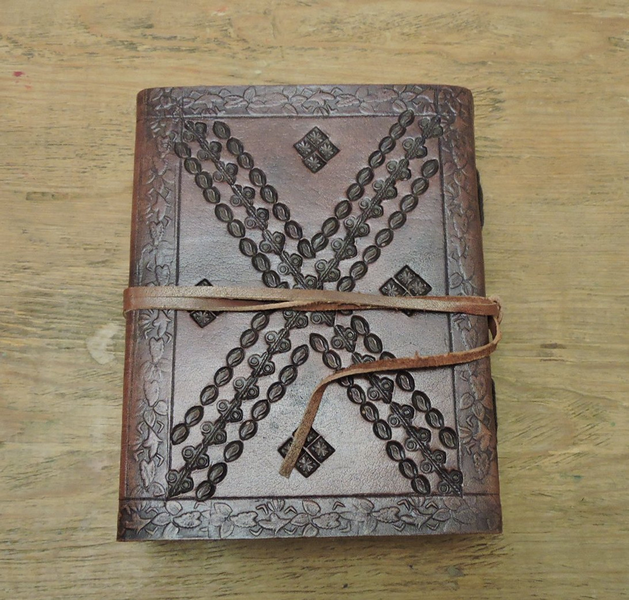 """Leather Journal Small with LINED PAPER 6"""" x 4.5"""" - back cover"""