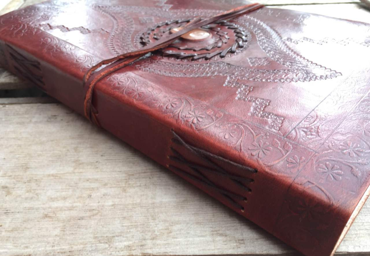 large leather journal - old world style - side stitching