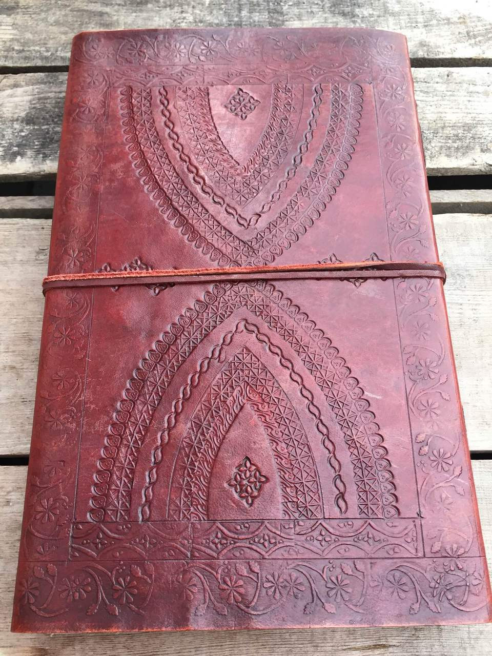 large leather journal - old world style - back view