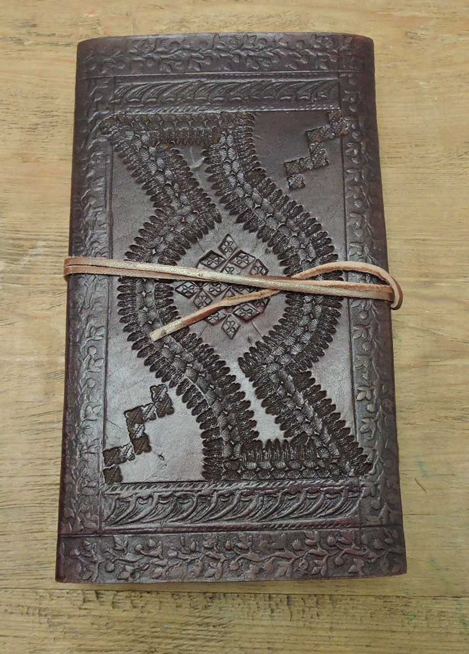 handcrafted leather journal - back cover view with embossing