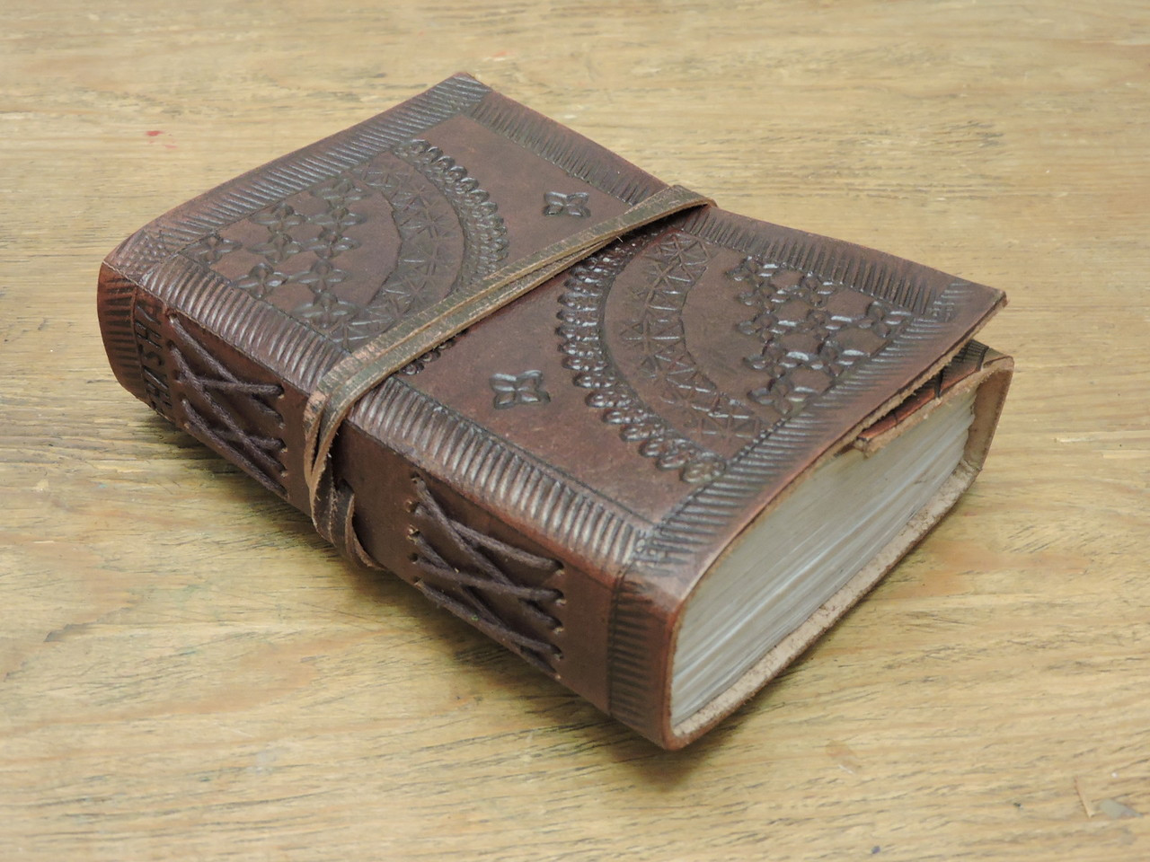hand made extra small old world style leather journal - side view