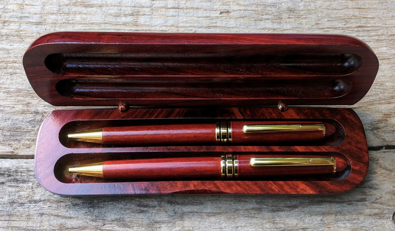 Rosewood Pen and Pencil Set with Case - Engravable