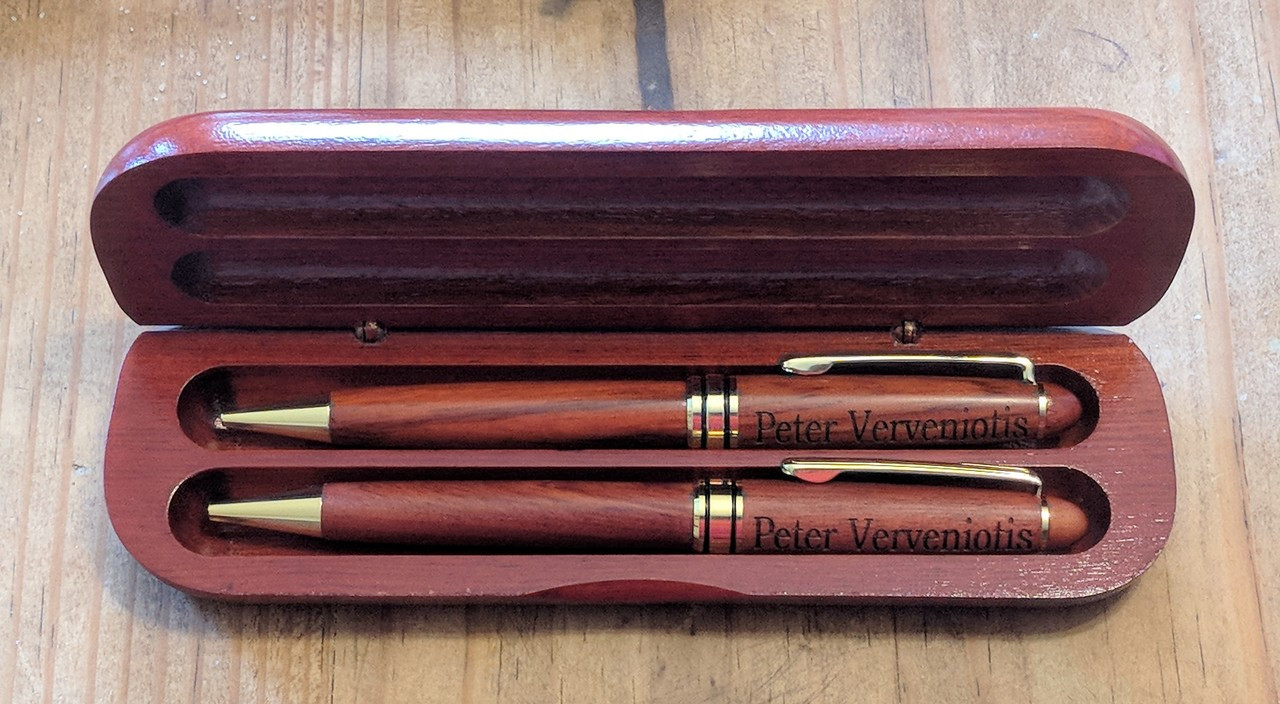 Rosewood pen and pencil personalized set