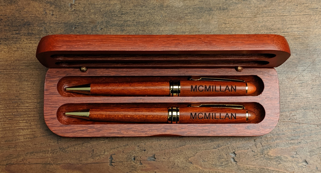 Engraved rosewood pen and pencil set