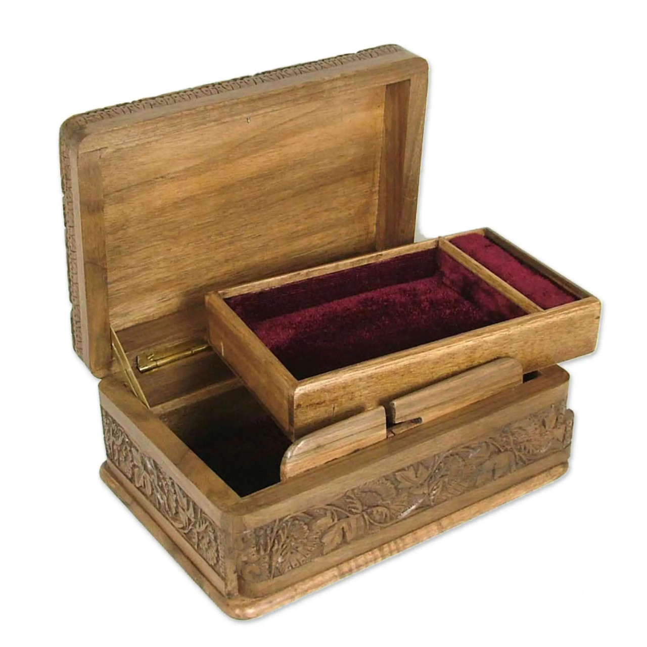 "Wooden Jewellery Box ""Bird Enchantment"" open"