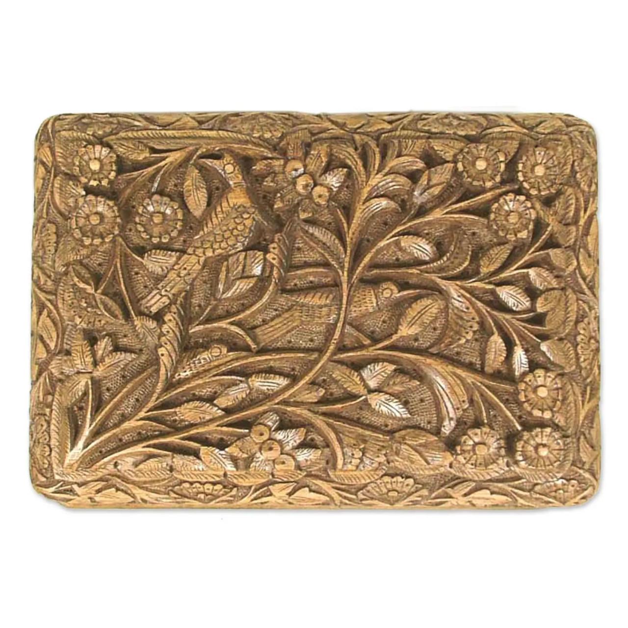 "Wooden Jewellery Box ""Bird Enchantment"" top"