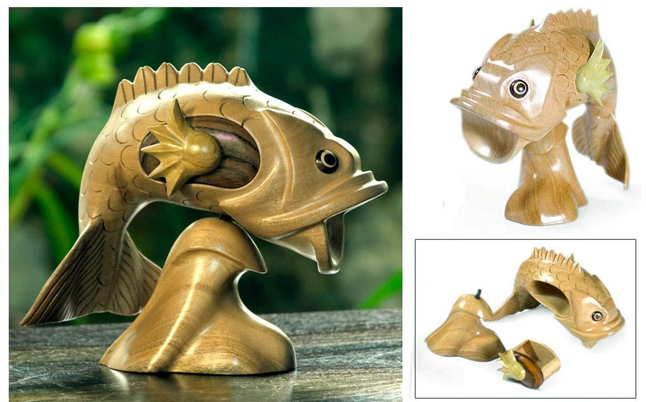 handcrafted fish puzzle box