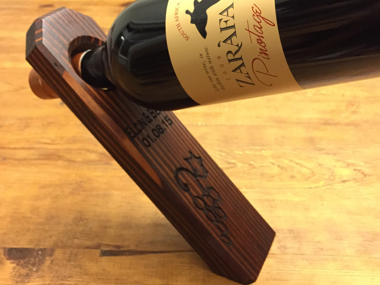 personalized - engraved wine bottle holder