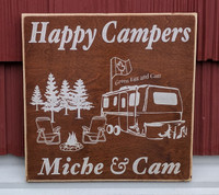 Happy Campers Custom Rustic Wood Sign