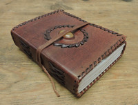 Old World Journal Stitched with Stone - angled view