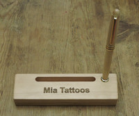 personalized maple pen case with business card slot and pen