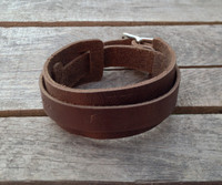 buckle leather wrist band dark leather
